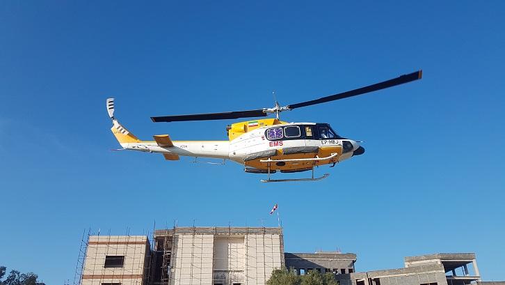 اورژانس هوایی بیمارستان سلمان فارسی برای پیوند عضو به پرواز درآمد